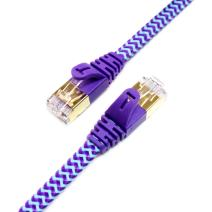 Tera Grand - 6FT - CAT7 10 Gigabit Ethernet Ultra Flat Patch Cable for Modem Router LAN Network - Braided Jacket, Gold Plated Shielded RJ45 Connectors, Faster Than CAT6a CAT6 CAT5e, Purple & Blue