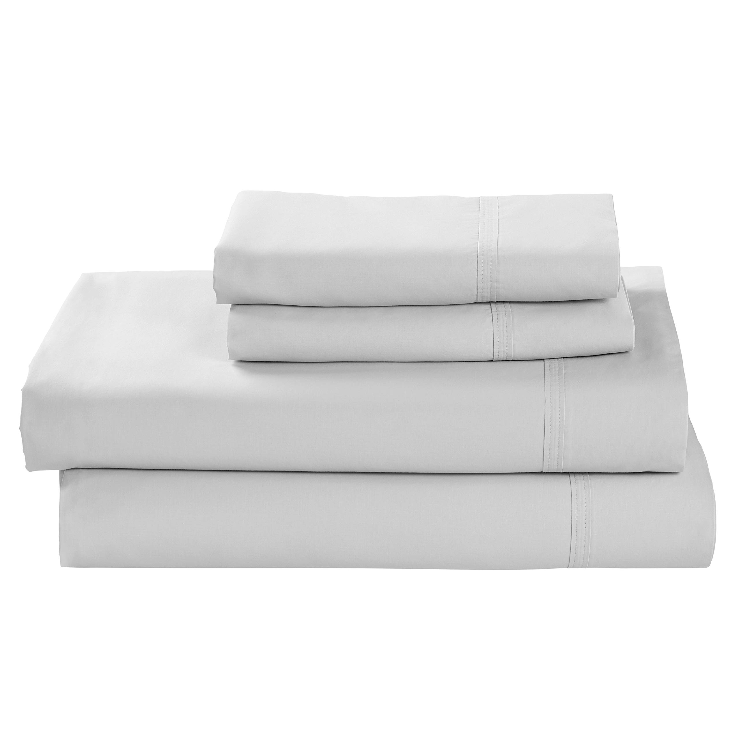 Rivet Percale 100% Organic Cotton Bed Sheet Set, Easy Care, King, White