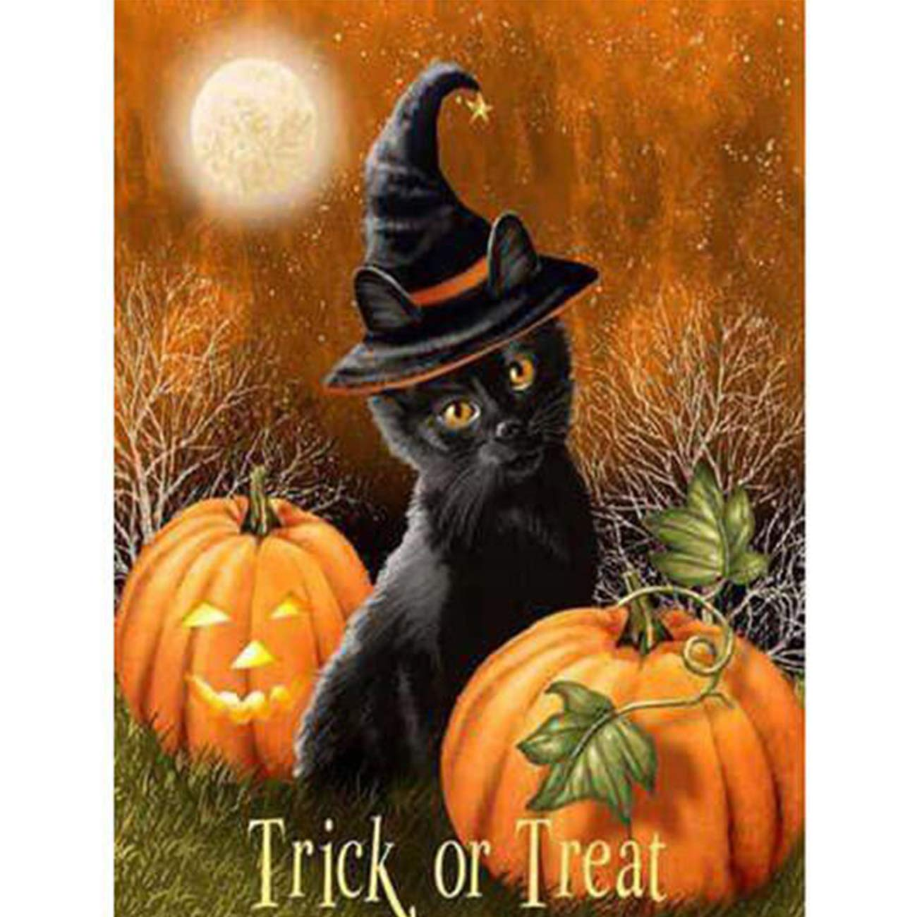 SKRYUIE 5D Diamond Painting Halloween Candy Hat Cat Full Drill by Number Kits for Adults Kids, DIY Craft Paint with Diamonds Arts Embroidery Cross Stitch Decorations (12x16inch)