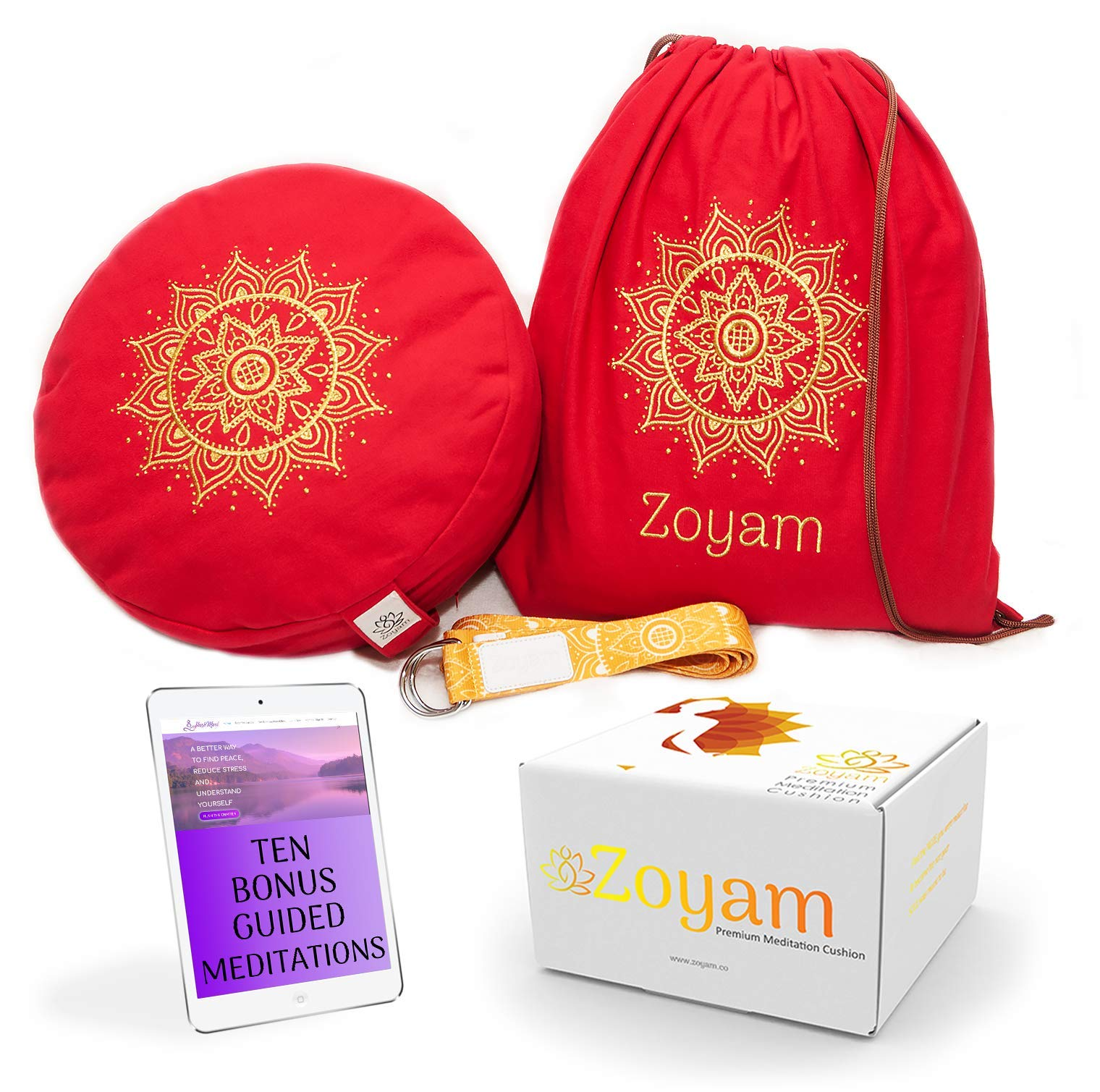 Zoyam Premium Meditation Cushion | Well made meditation pillows for sitting on floor | Easy to clean zafu pillow with Carry Bag Yoga Strap and Bonus Guided Meditations