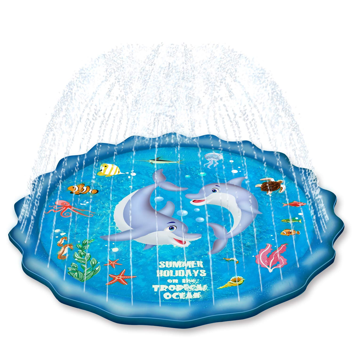 EPN Sprinkle Pad for Kids Splash Play Mat for Toddlers Baby, Upgraded 70' Summer Outdoor Water Toys Wading Pool Outside Water Play Mat for 1-12 Years Old Children Boys Girls