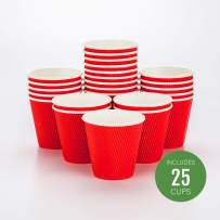 "8 oz Red Paper Coffee Cup - Ripple Wall - 3 1/2"" x 3 1/2"" x 3 1/2"" - 25 count box - Restaurantware"