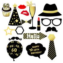 AMAWILL 16pcs Photo Props 60th Happy Birthday Party Decorations Supplies