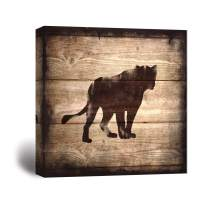 wall26 - Square Canvas Wall Art - Lion Silhouette on Rustic Wood Board Texture Background - Giclee Print Gallery Wrap Modern Home Decor Ready to Hang - 12x12 inches