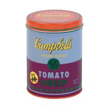 """Galison Andy Warhol Soup Can Puzzle, Red Violet, 300 Pieces, 12"""" x 20'' – Puzzle Based on Andy Warhol Tomato Soup Can Painting – Packaged in Tin Canister – Makes a Great Gift, Blue (9780735353886)"""