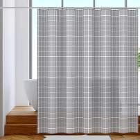 OTraki 72 x 72 inch Fabric Shower Curtain Gray Heavy Duty Bath Curtains Liner Plaid and Bottom Weighten Design with 12 Hook Grommets for Bathroom 180x180cm - Grey