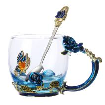 Tea Cup Coffee Mug Glassess Cups & Spoon Beautiful Unique Gift For Women Butterfly Rose (Blue Rose)