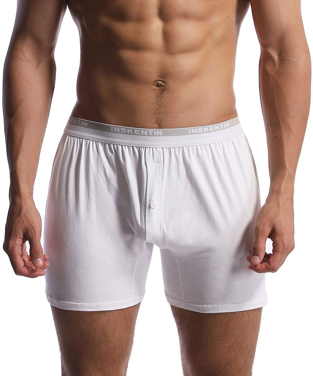 Inskentin Men's Cotton Knit Loose Boxers Relaxed Fit Tagless Soft Underwear with Button Fly (1-Pack/3-Pack)