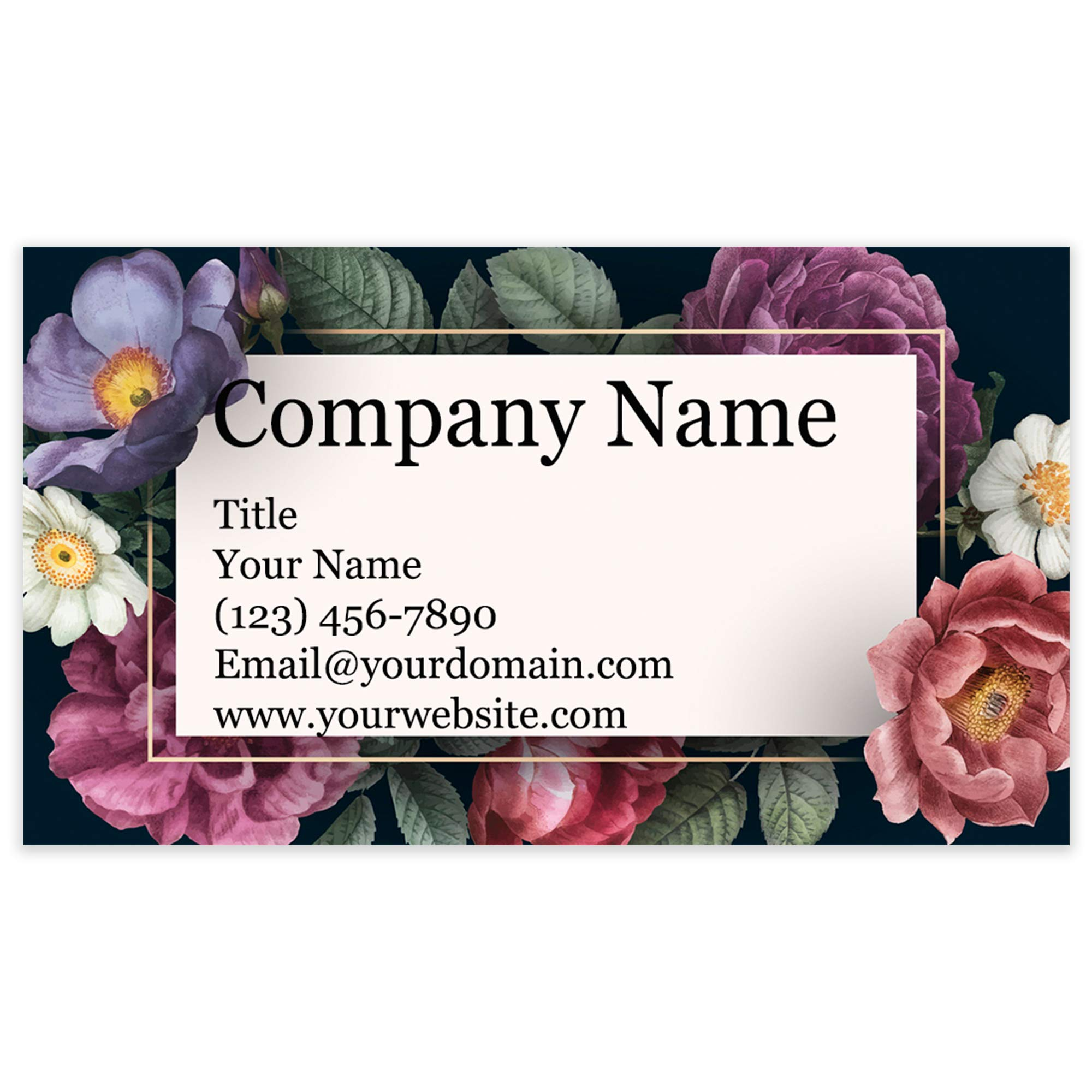 "Personalized Floral Design Business Cards 3.5"" x 2"" - Recycled or Matte Card Stock - 100% Made in the U.S.A. - Over 20 Floral Designs! (Black Floral)"