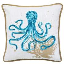 Ocean Sea Octopas Coral Coastal Accent Throw Pillow Decorative Cushion, for Marine Animal Lovers