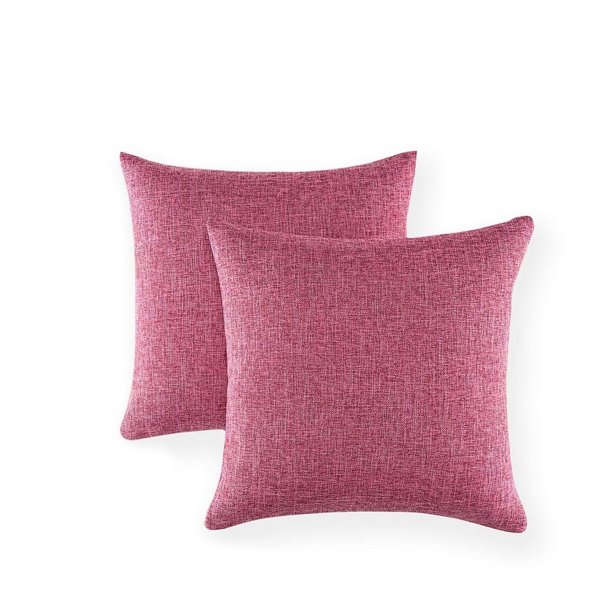 Xinrjojo Solid Color Cotton-Linen Decorative Pillow Covers Accent Square Throw Pillow Cases, 18x18 Inches Cushion Covers Euro Sham for Sofa Couch Bed&Car, Pack of 2- Rose Red