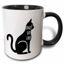 3dRose 192782_4 Crazy Cat Lady Two Tone Mug, 11 oz, Black