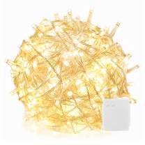RPGT 500 LEDs 169ft Clear Cable Battery Fairy String Tree Twinkle Lights 8 Modes for Christmas Party, Outdoor, Garden, Wedding, Home Decoration (Timer,Warm White)