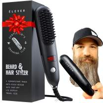 Beard Straightener For Men - 2-1 Heated Beard Brush & Hair Straightener with BONUS pouch | Fast, Anti-fizz, Ionic Beard Comb. Powerful Beard Straightening Comb, Hot Comb Electric Styling Brush (2021)