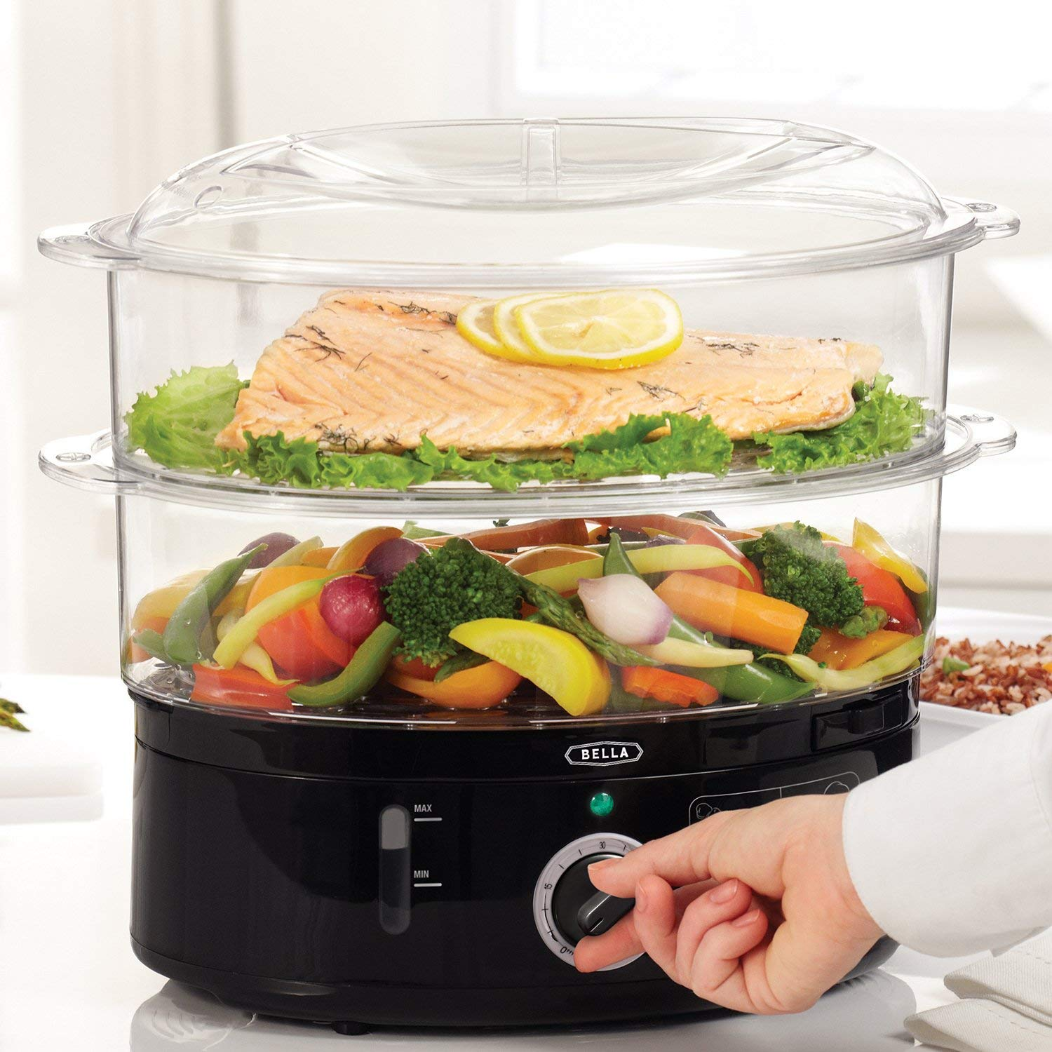 BELLA (13872) 7.4 Quart Healthy Food Steamer with 2-Tier Stackable Baskets