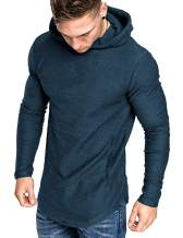 COOFANDY Men's Fashion Workout Hoodie Muscle Fit Cotton Blend Gym Sweatshirts Solid Color Athletic Pullover