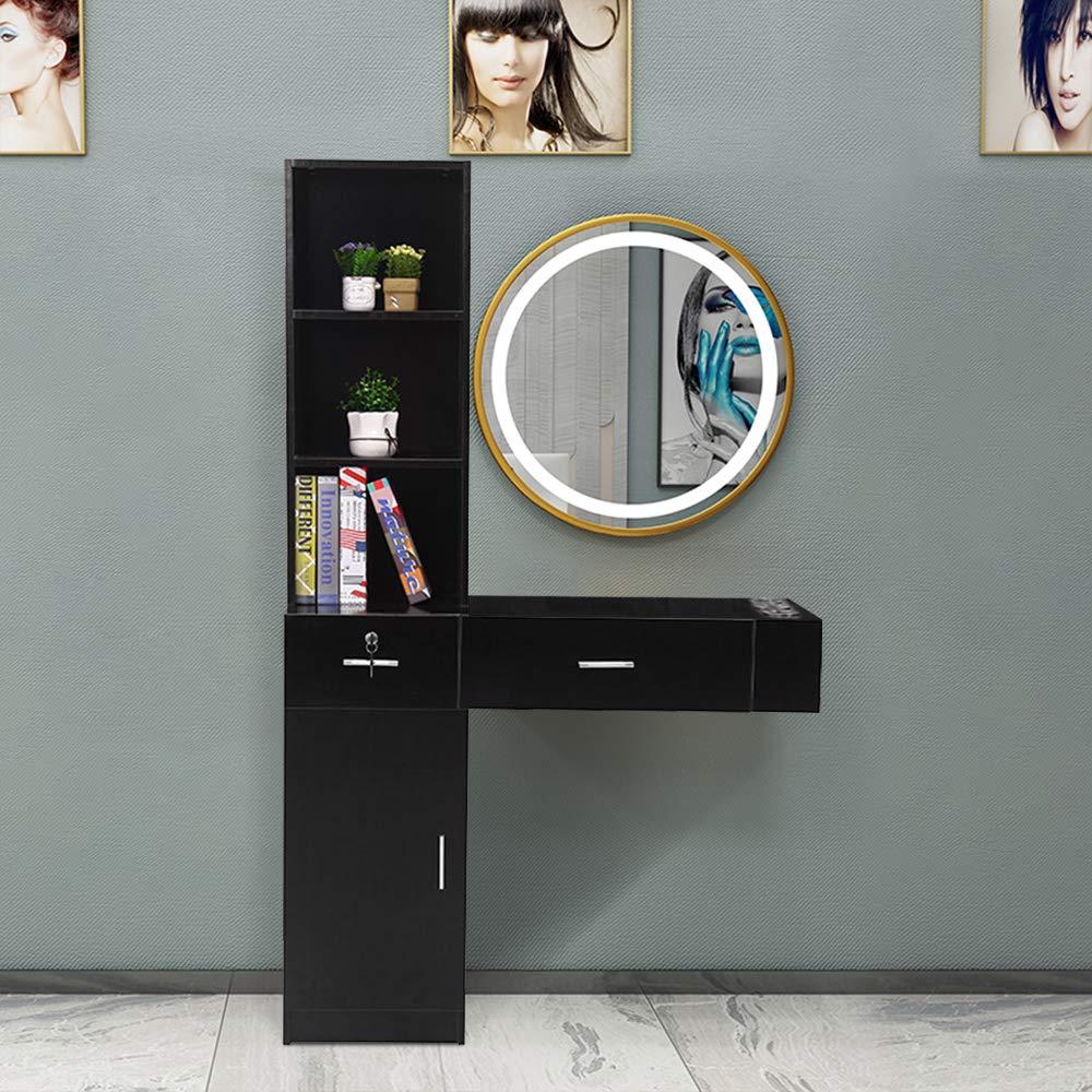 SSLine Classic Black Salon Station Wall Mounted Beauty Salon Spa Locking Storage Cabinet Table with 2-Drawer/3-Shelf/1 Cupboard/3 Tool Inserts Barber Styling Station Organizer for Stylist Hair Salon