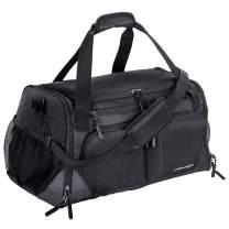 "Gym Bag, Sports Duffle with Shoes Compartment & Wet Pocket & Water Resistance Pouch, Men Women, 31L (17""), Black"