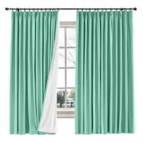 "ChadMade Drape Blackout Curtain Linen Cotton Drapery 85% Blackout Solid Pinch Pleated Curtain Bedroom Living Room Family Room, 72"" W x 84"" L (Aqua, 1 Panel)"
