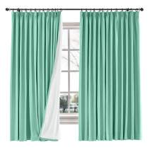 """ChadMade Drape Blackout Curtain Linen Cotton Drapery 85% Blackout Solid Pinch Pleated Curtain Bedroom Living Room Family Room, 72"""" W x 84"""" L (Aqua, 1 Panel)"""