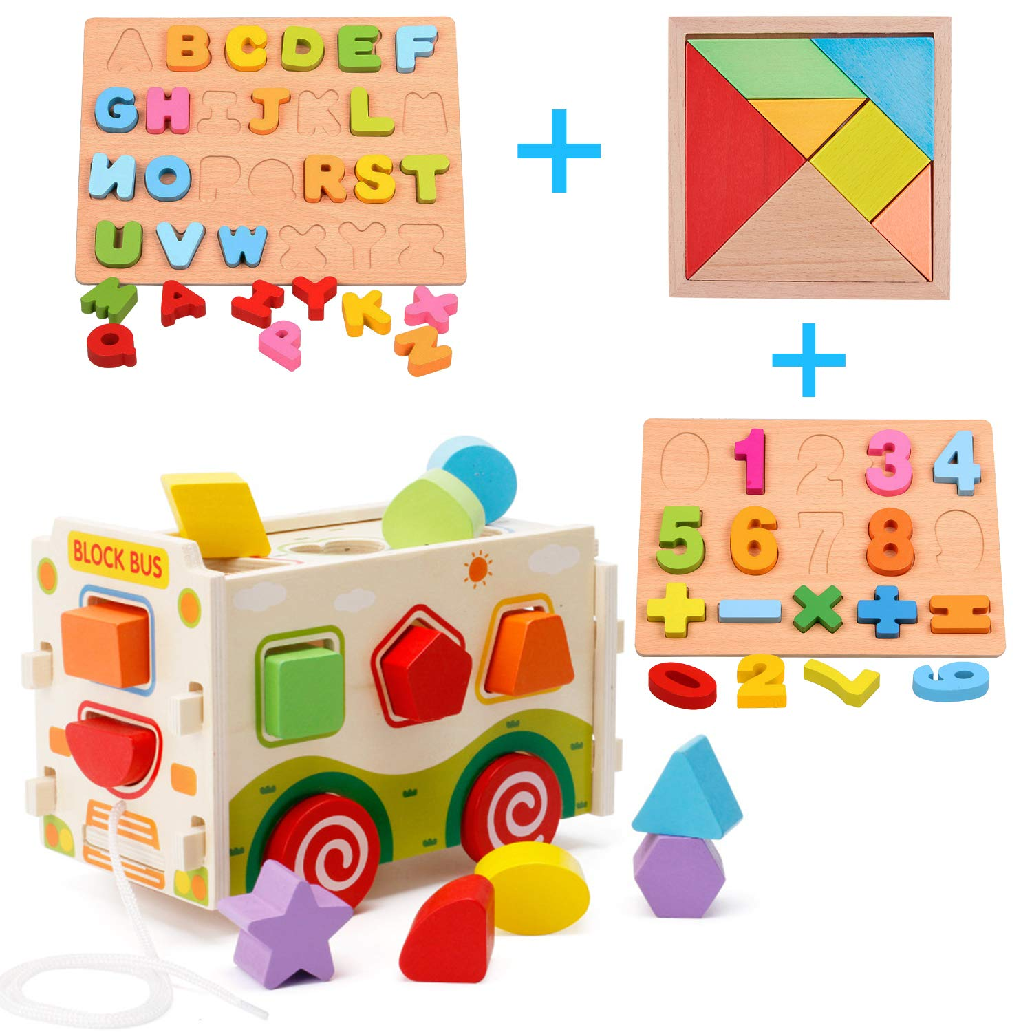 HM-tech Wooden Shape Sorter Toys, Wooden Shape Sorter Bus with Tangram & Number Alphabet Puzzle Board, Classic 3D Push Pull Truck Toy for Toddlers Learning Sort and Match for Kids