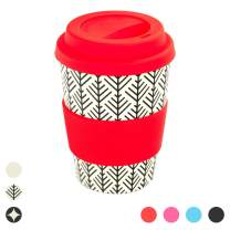 Rink Drink Bamboo Reusable Coffee Cup with Silicone Lid & Sleeve - 350ml - Aztec Leaf - Red