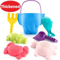 CubicFun Beach Toys Sand Toys for Kids Toddlers Baby, Sand Bucket Rake Shovel Set, Animal Beach Turtle Crocodile Whale Crab Molds Water Toys for Bathtub, 7 Pieces