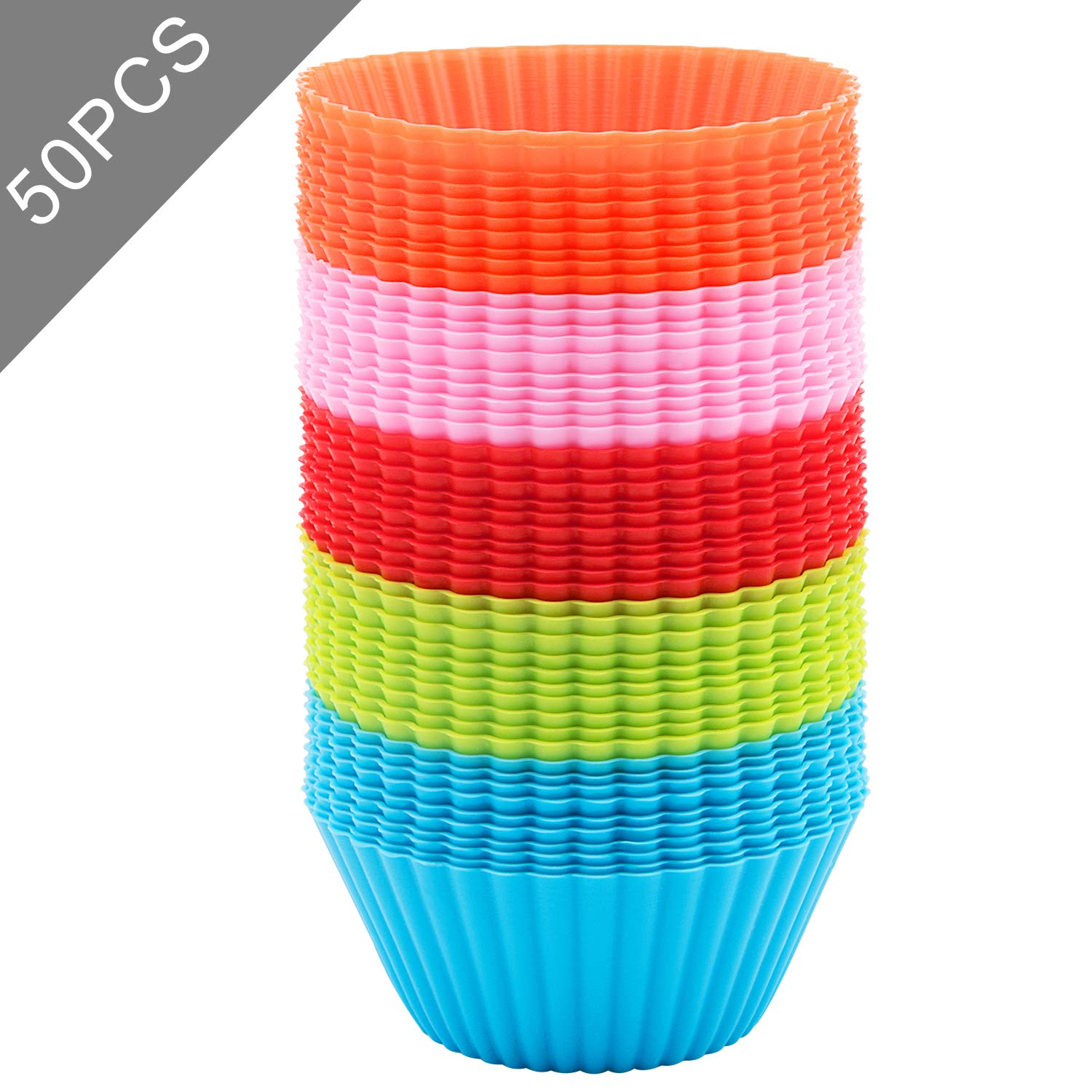 Silicone Cupcake Liner, Baking Cups 50 PCS, Reusable Non-stick Muffin Cups Cake Molds Standard, Multi-color