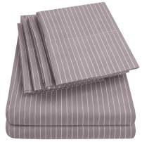 Sweet Home Collection Twin Size Sheets-4 Piece 1500 Thread Count Fine Brushed Microfiber Deep Pocket Set-2 EXTRA PILLOW CASES, VALUE, Pinstripe Gray