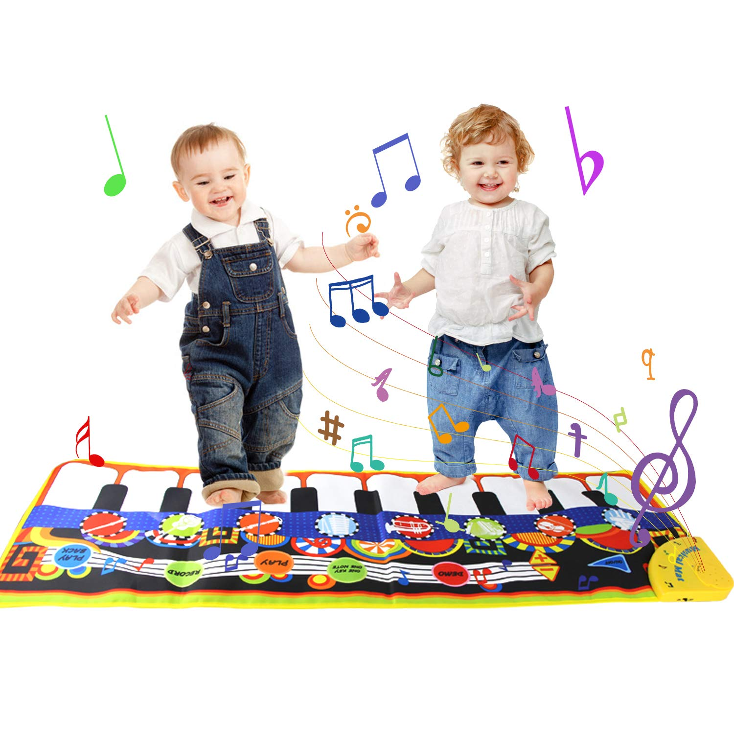 Joyfia Musical Piano Mat, 19 Keys Piano Keyboard Toddler Music Dance Mat, 8 Musical Instruments Touch Playmat Carpet, Kids Early Education Music Toys Gift for 3 Years Old Boys Girls (43.3x14.2 in)