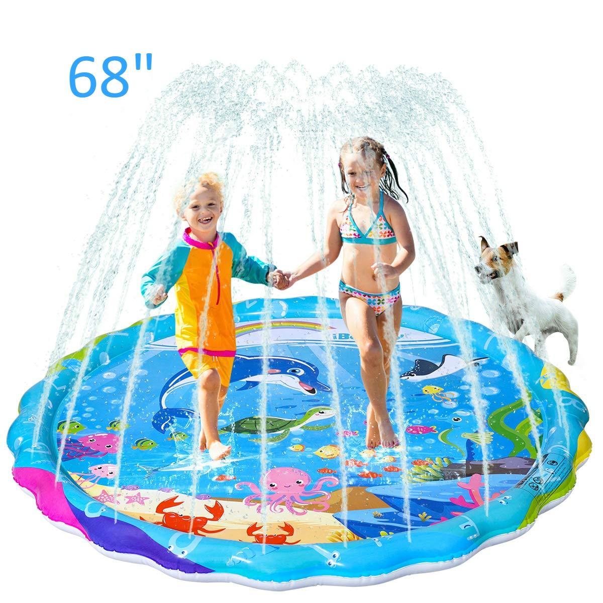 "iBaseToy Sprinkler for Kids, 68"" Inflatable Splash Pad Sprinkler for Toddlers Dogs, Sprinkle and Splash Play Mat, Sprinkler Water Toys for Outdoor Play, Fun Backyard Fountain Play Mat for Girls Boys"