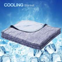 LUXEAR Cooling Blanket, Revolutionary Cool-to-Touch Technology Q-MAX>0.4 Summer blanket, 59 X 79 in Double Side Design Cool Blanket, Breathable Comfortable Bed Blanket for Adults, Children, Baby- Blue
