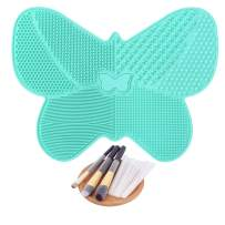 Makeup Brush Cleaning Mat Silicone Cosmetics Brush Cleaner Butterfly Shape Makeup Brush Cleaning Pad with Suction Cups + 10 Pcs Makeup Brush Protector (Mint Green)