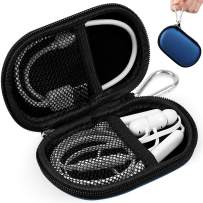 RISETECH Earbud Earphone Carrying Case Small Headphone Hard Case Stoage Puch for EarPods, AirPods, Clip MP3 Player, BeatsX Powerbeats3, Jaybird X3 X4, Bose Wireless Soundspot with Carabiner - Blue