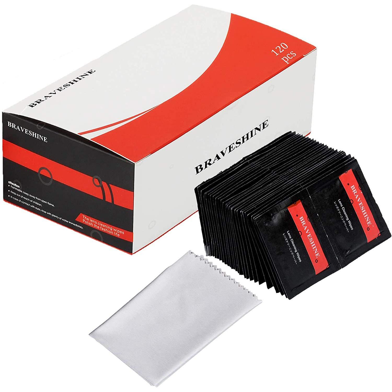 BRAVESHINE Lens Wipes - 120 Pack Pre-Moistened Eyeglass Cleaner Wipes - Streak-Free Screen Cleaning Wipes for Eye Glasses, Sunglasses, Phone, Electronics, Computer Monitor & Camera Lense + 1 Cloths