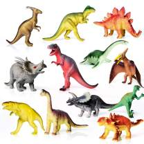 """AILIHEN Dinosaurs Toys Includes Kids 12-Pack of Realistic Plastic Figures, 5-8"""" Dinosaur Play Set with Educational Book for Boys/ Girls / Toddlers ( 3 Years Old & Up ), Dinosaur Party Supplies"""