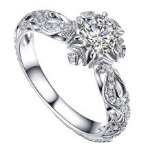 Balakie Wedding Band Rhinestone Floral Carved Zircon Anniversary Valentine's Day Rings Jewelry for Women