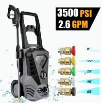 WOOKRAYS 3500PSI Electric Pressure Washer, 2.6GPM High Pressure Washer, 5 Adjustable Nozzle, Professional Electric Automatic Pressure Cleaner for Cleaning Cars, Houses Driveways, Patios