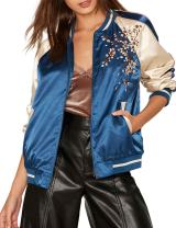 IRISIE Women Lightweight Flower Embroidered Long Sleeve Bomber Jacket
