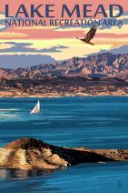 Lake Mead - National Recreation Area - Lake View (9x12 Art Print, Wall Decor Travel Poster)