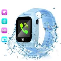 ZOPPRI Smartwatch for Kid, IP67 Waterproof 1.44 inchTouch Screen Watches. GPS Tracker with SOS and Pedometer with Camera Phone Watch. Smartwatch for 3-14 Year Old Children Girls Boys (A32blue)
