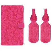 JAVOedge Embossed Paisley Long RFID Blocking Passport Case with Pen Holder and 2 Matching Luggage Tags (Dark Pink)