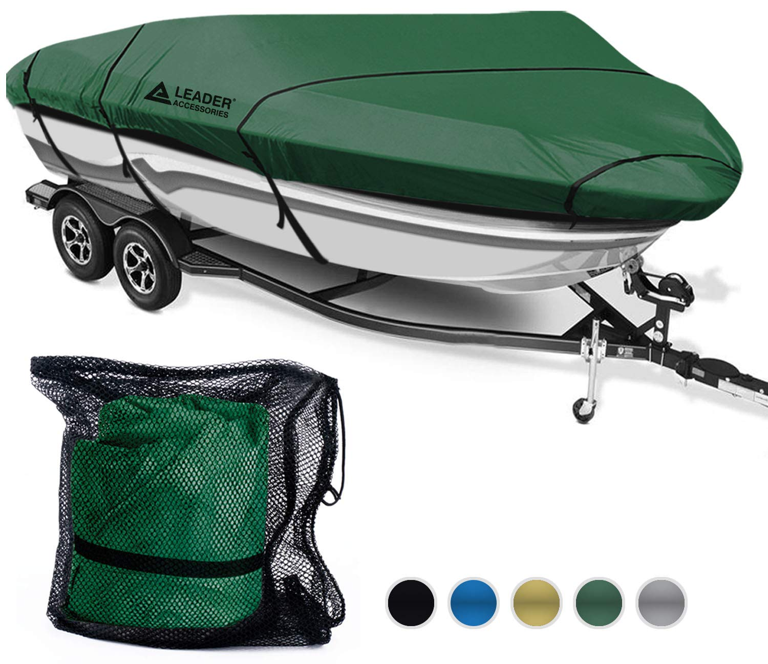 Leader Accessories 600D Waterproof Trailerable Runabout Boat Cover Fit V-Hull Tri-Hull Fishing Ski Pro-Style Bass Boats, Full Size