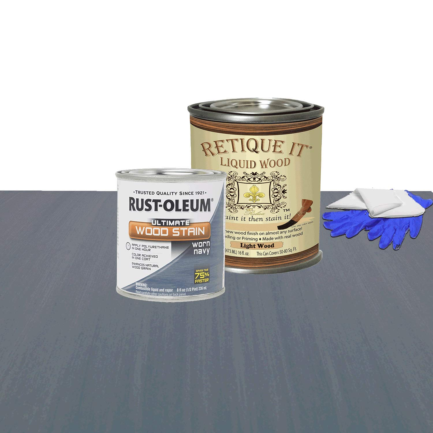Retique It Liquid Wood - Pint Light Wood with Worn Navy Stain - Stainable Wood Fiber Paint - Put a fresh coat of wood on it (16oz LW, Worn Navy)