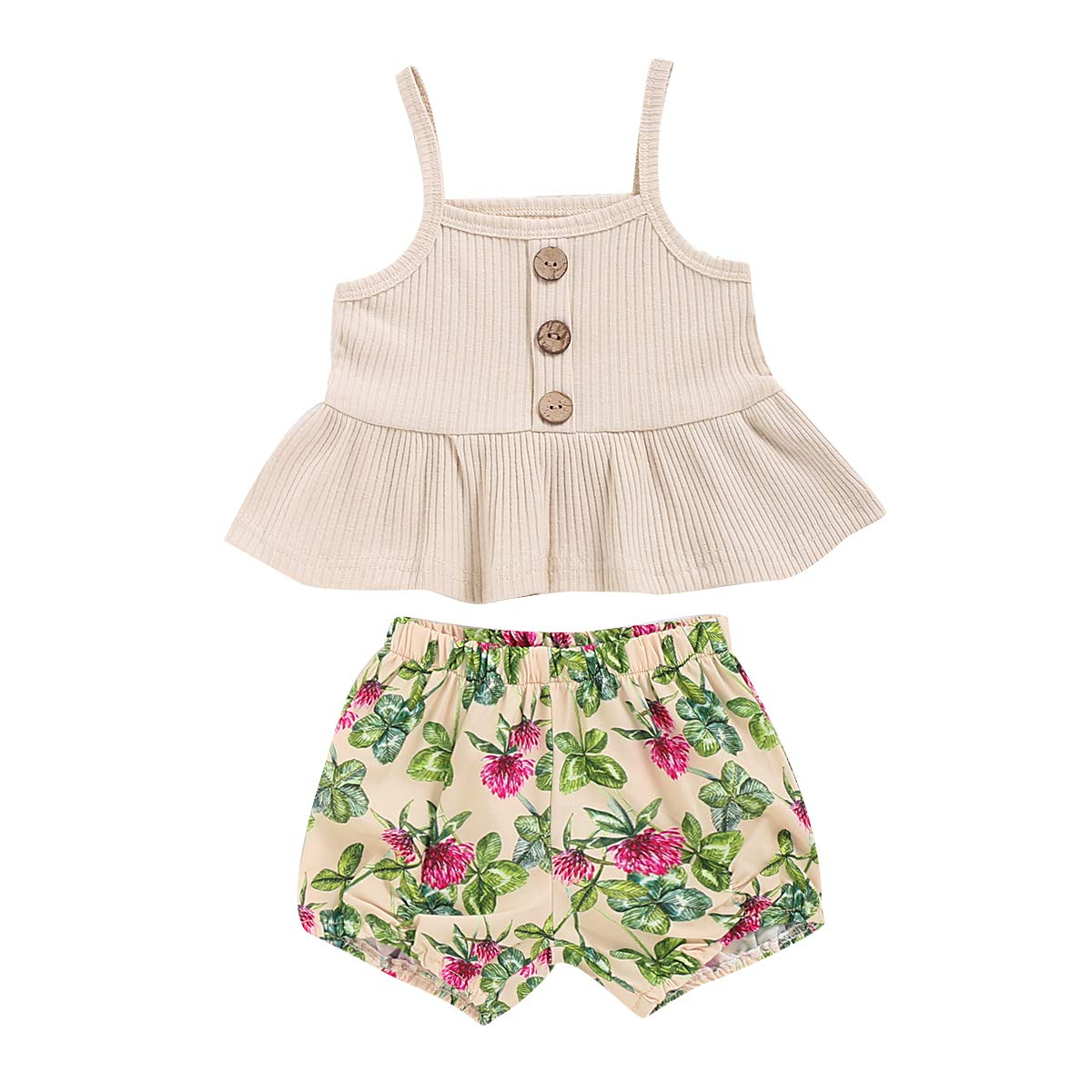 bilison Toddler Baby Girl Clothes Sleeveless Ruffle Tops Floral Pants Baby Girl Summer Outfits Set