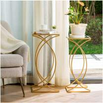 Glitzhome Set of 2 Nesting Coffee Tables Decorative Accent Side End Tables Plant Stand Chair for Bedroom, Living Room, Home Office and Patio