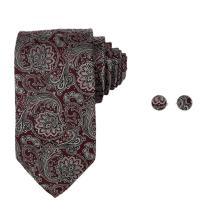 Y&G YABB0004 Dark Red Grey Paisley Creative Woven Jacquard Silk Tie Gift For Pretty Neck Tie
