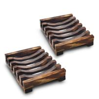 Magift 2 Piece Home Bathroom Wooden Soap Case Holder, Sink Deck Bathtub Shower Dish, Rectangular, Hand Craft, Natural Wooden Holder for Sponges, Scrubber