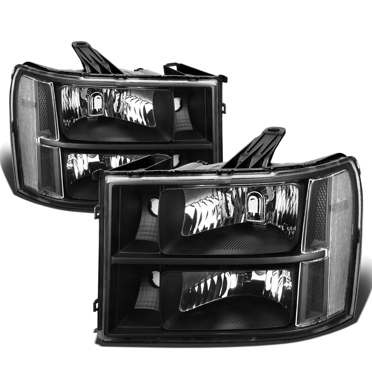 Replacement for GMC Sierra GMT 900 Pair of Black Housing Clear Corner Headlight Replacement
