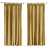 """Drapifytex Blackout Curtains 96"""" Length Faux Silk Satin with Liner Thermal Insulated Window Treatment Panels for Living Room, Pinch Pleat Top, 1 Panel Gold"""